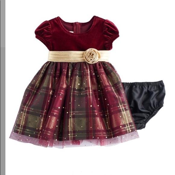 14 Red Plaid /& Velvet Holiday Jacket Dress NWT $68 BONNIE JEAN Girls/' 12